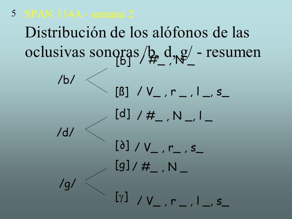 5 SPAN 114A - semana 2 Distribución de los alófonos de las oclusivas sonoras /b, d, g/ - resumen. [b]